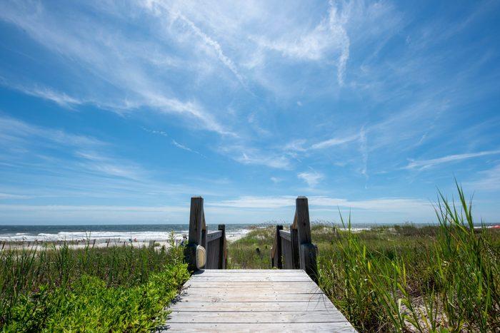 Wooden Boardwalk to the Ocean - North Carolina, Summer