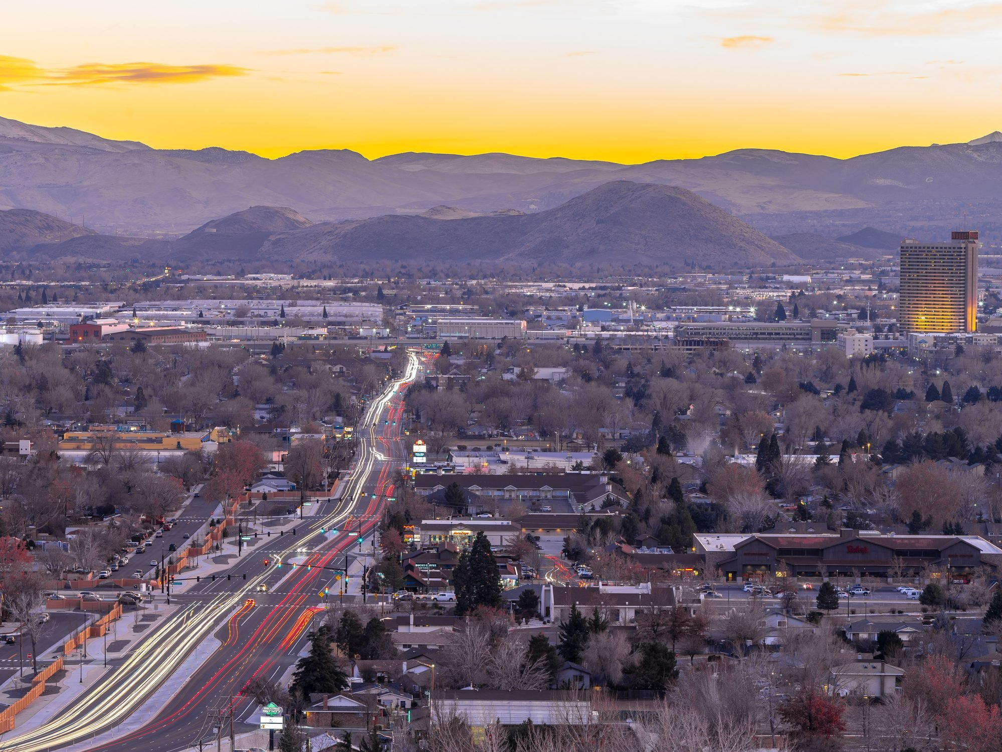 Long exposure City of Sparks, Nevada cityscape at sunset.