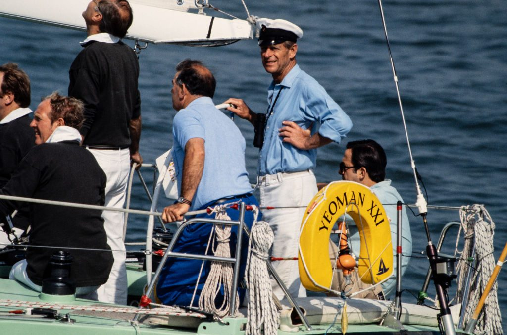 Prince Philip the Duke of Edinburgh sailing his Yeoman class yacht at Cowes Week Races