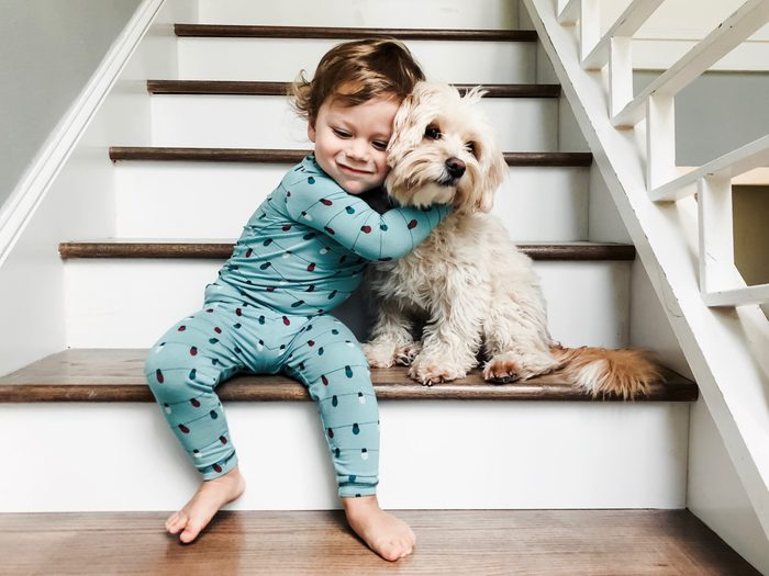 Baby Boy Embracing Dog On Steps In Forest
