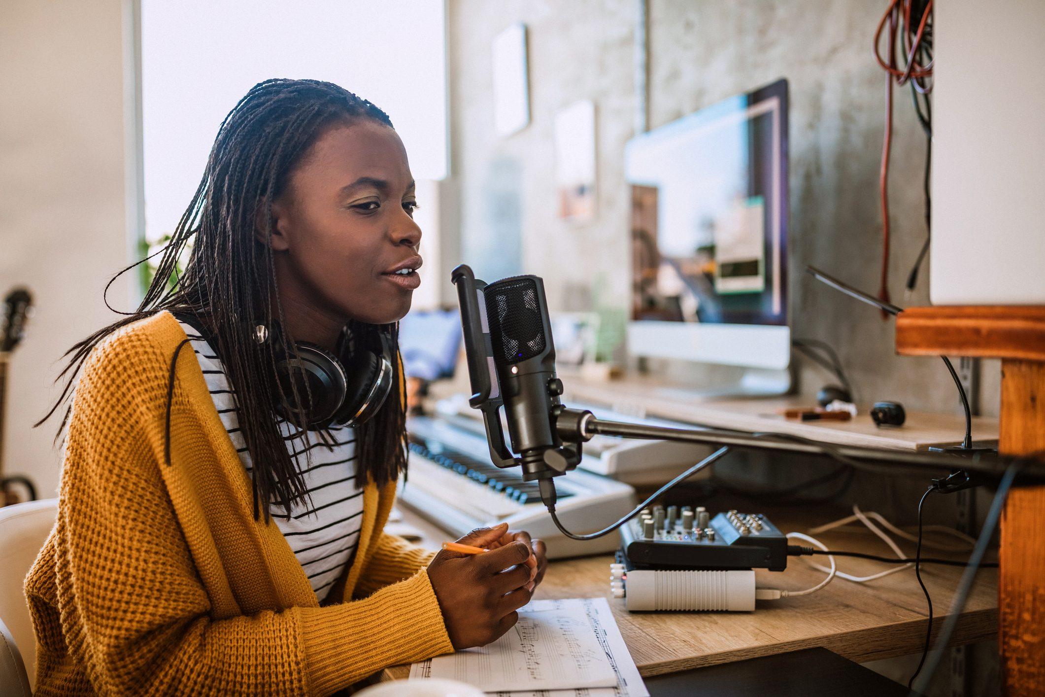 Female host on radio station
