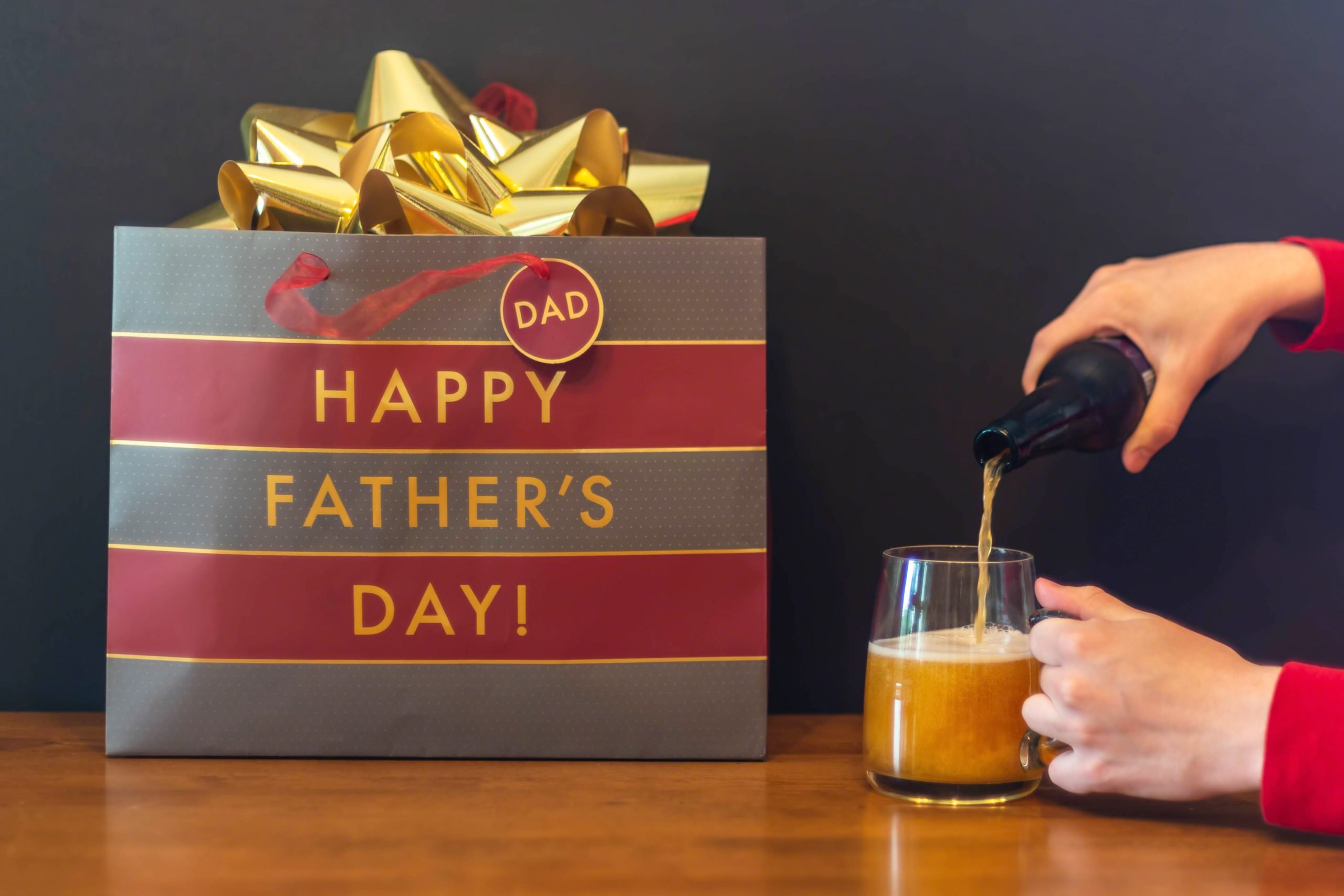 Pouring a beer for dad for Father's Day