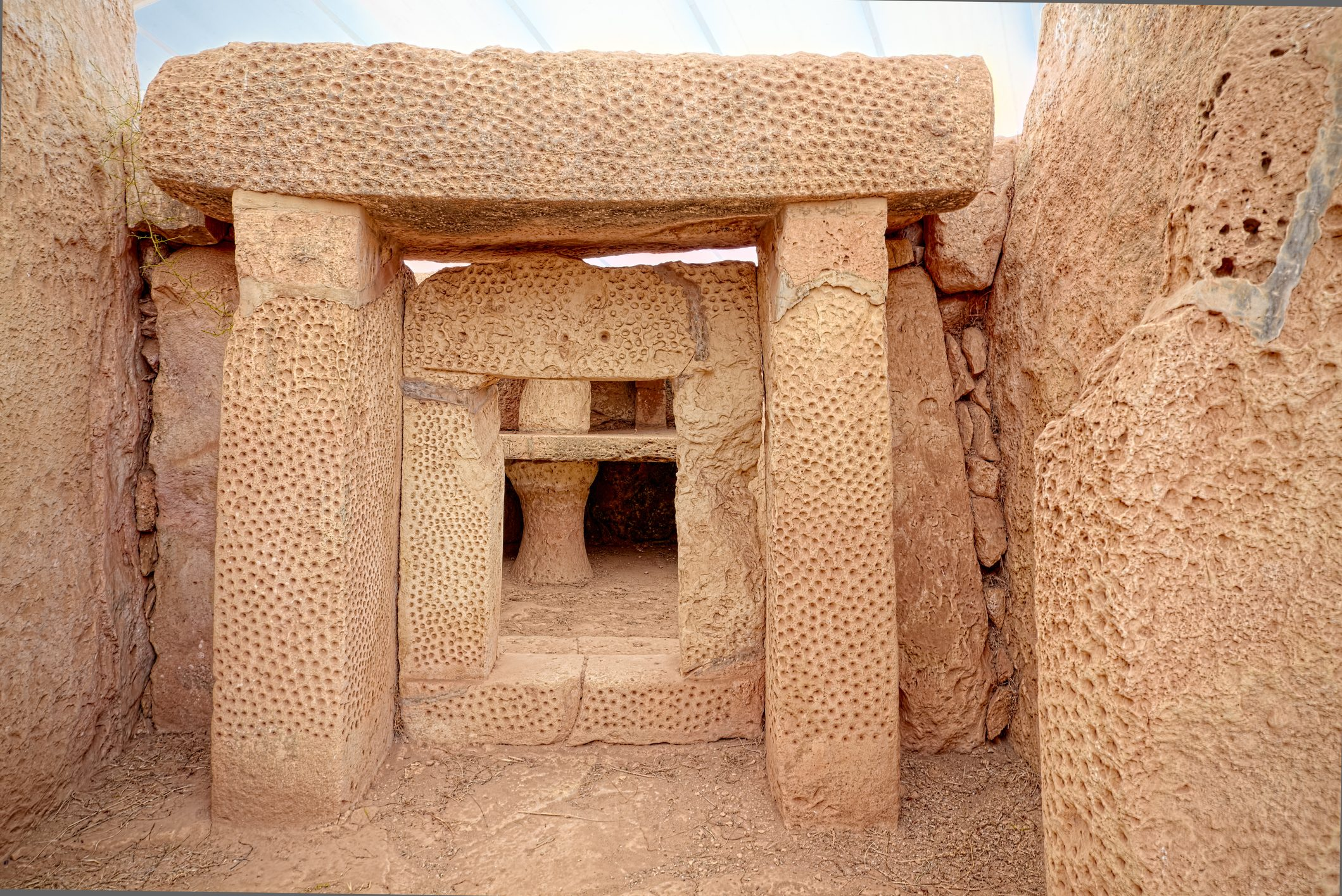 Details of Mnajdra megalithic temples of Malta (Qrendi)