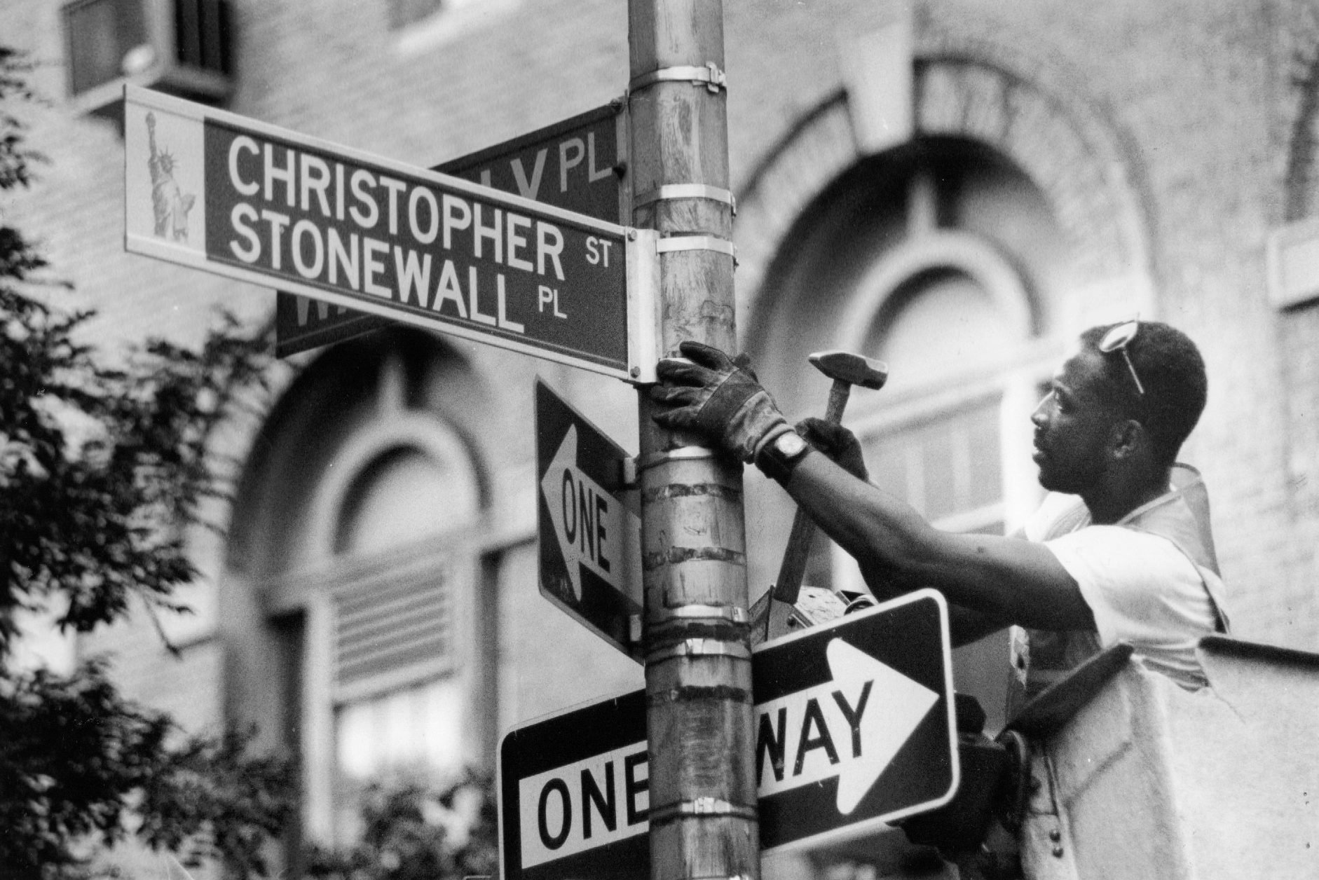 NYC street sign commemorating Stonewall uprising installed in 1989