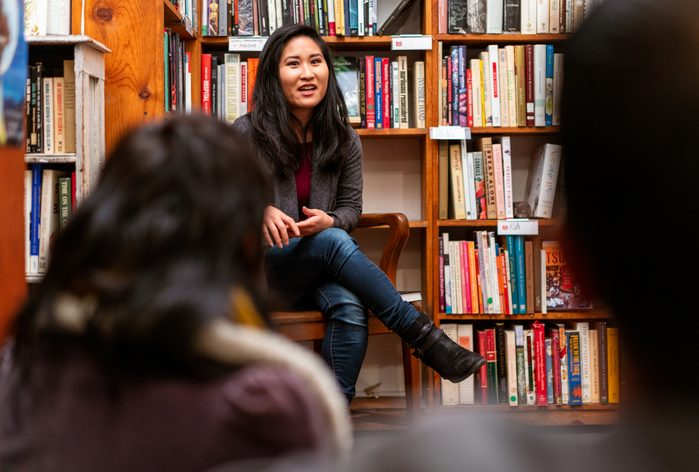 Book group meeting at a bookstore