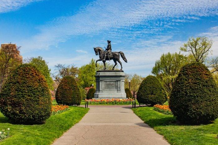 George Washington Statue in Boston public park in summer.