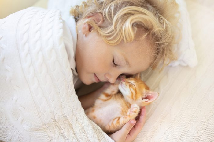 child and kitten sleeping together