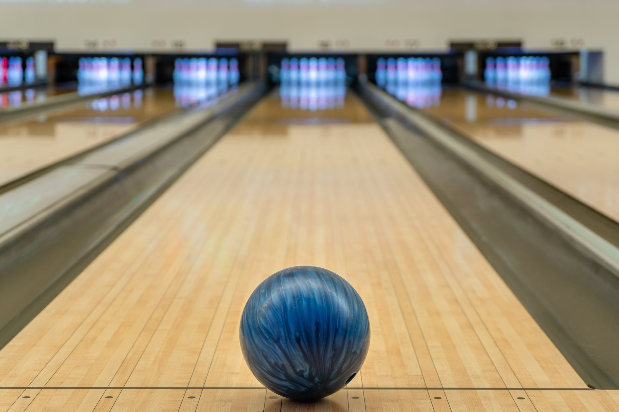 bowling ball in bowling alley