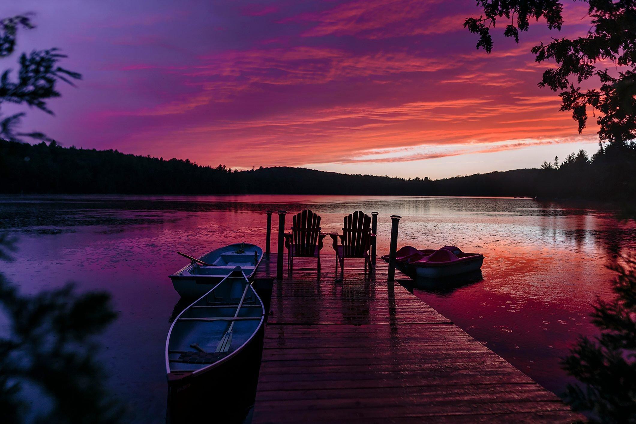 rainy purple summer sunset at the dock