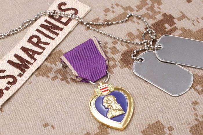 Purple Heart award on US MARINES camouflage uniform