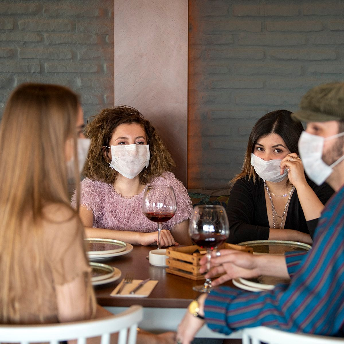 masked diners