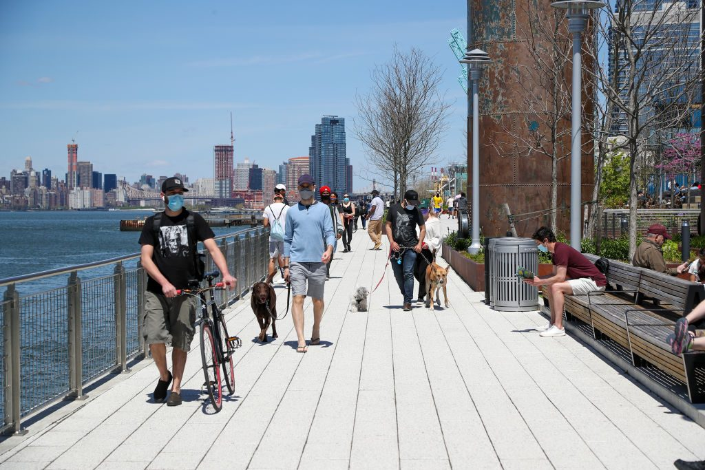 New Yorkers enjoy warm weather amid Covid-19 pandemic