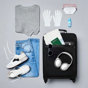 Traveler's clothes and personal safety travel accessories against covid-19
