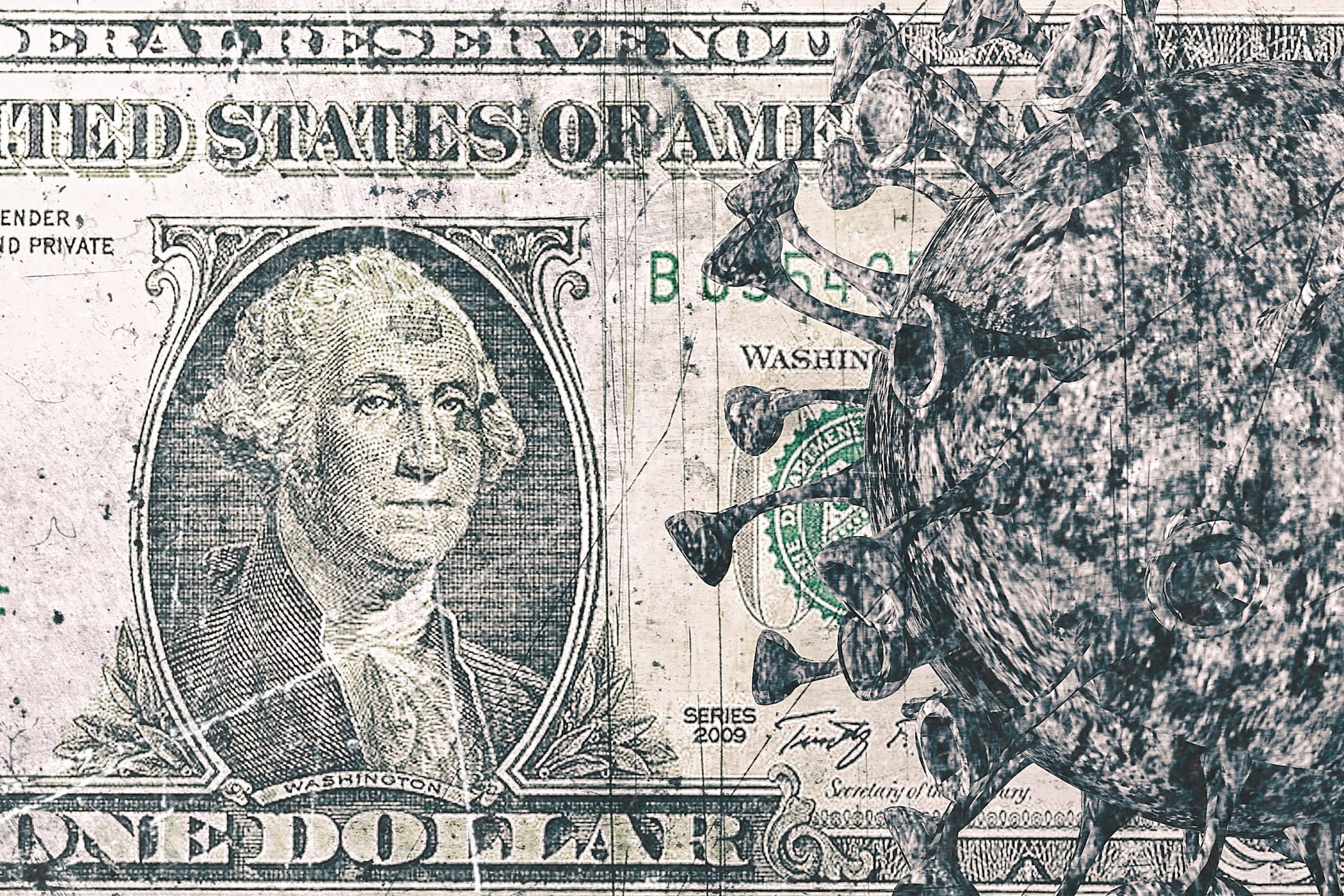 United States of America - Pandemic Covid-19 Coronavirus cells on Part of USD dollar banknotes