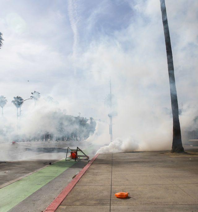 tear gas filling the streets in santa monica california