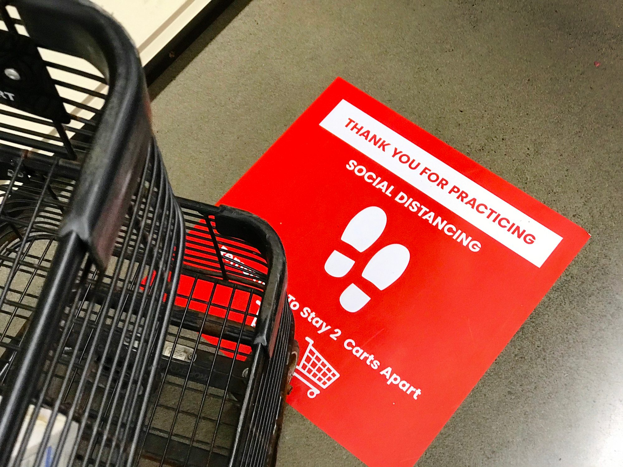 COVID-19 Grocery Store Checkout Line Social Distancing Sign Notice