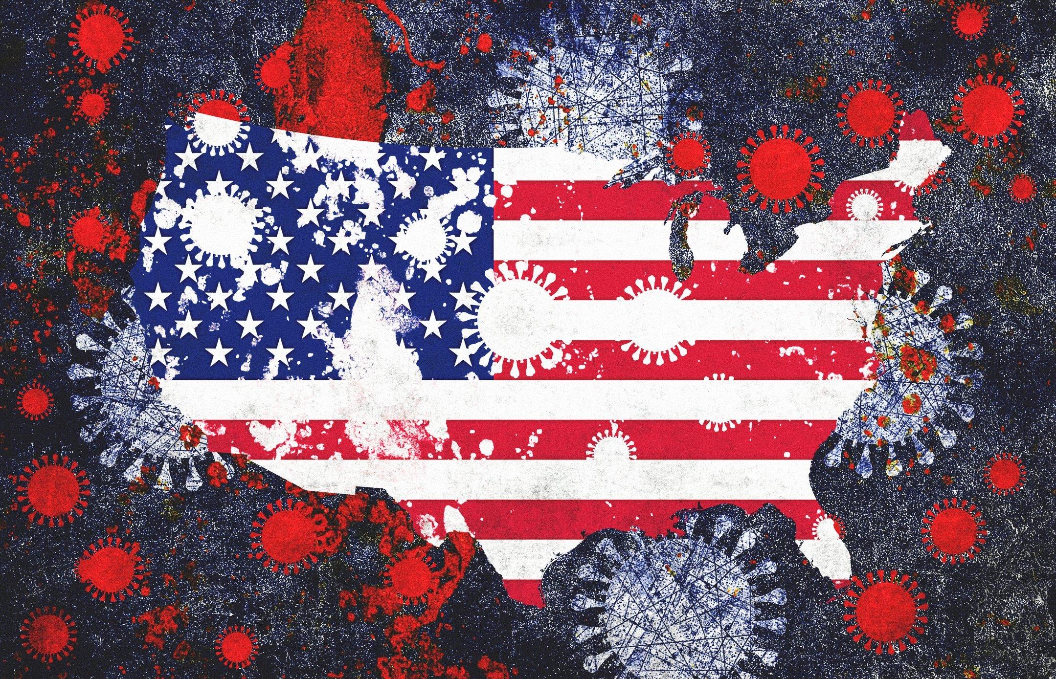 Coronavirus COVID-19 and USA Map and Flag
