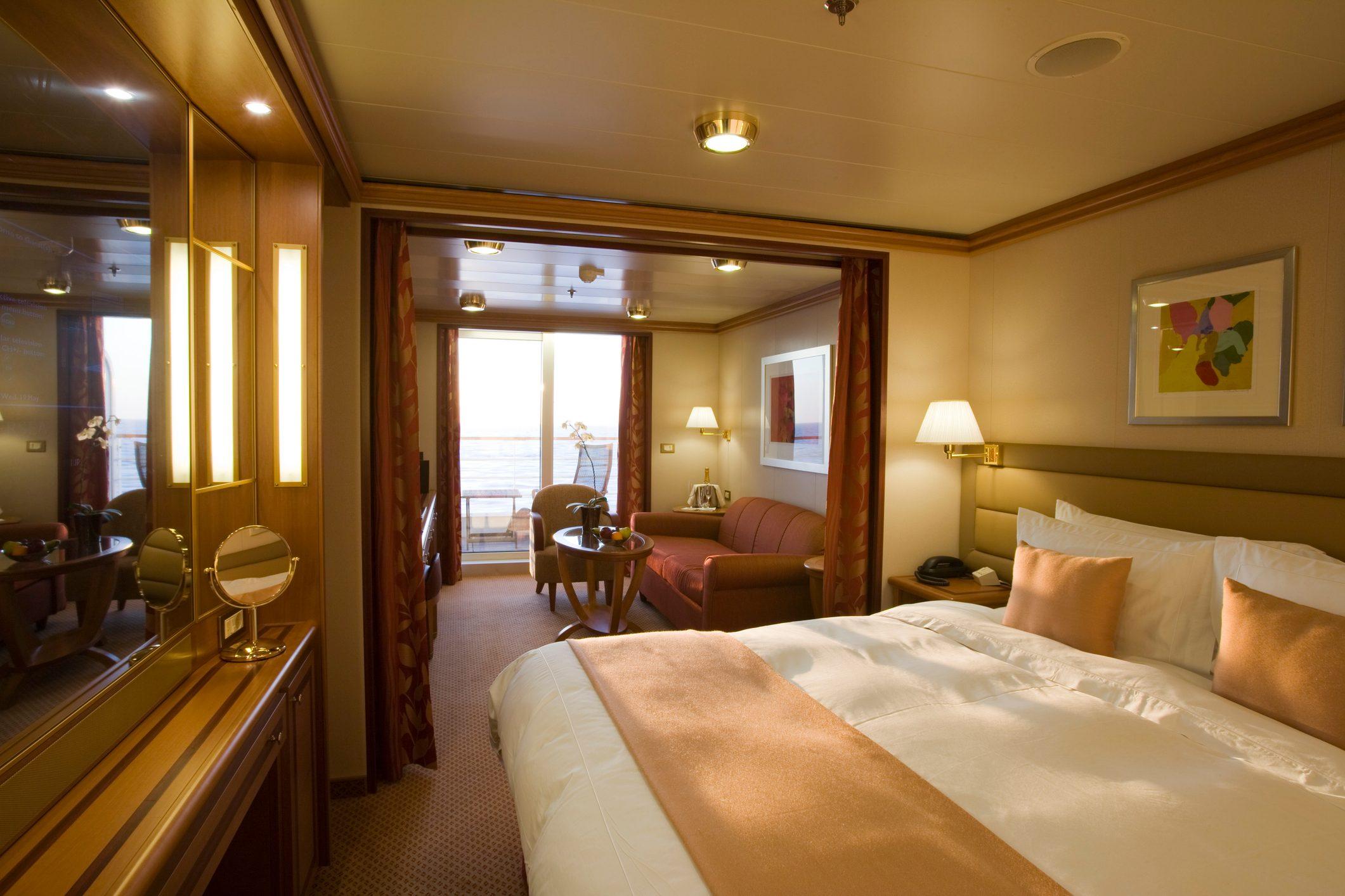 Guest cabin suite interior aboard cruiseship Silver Spirit (Silversea Cruises).