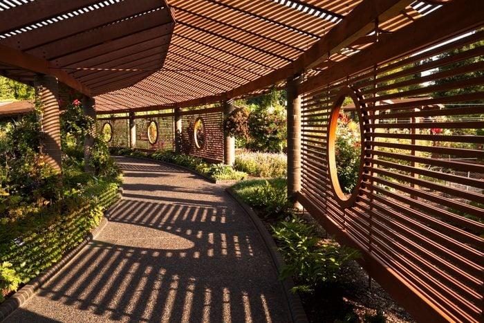 Shaded walkway at Missouri Botanical Gardens.