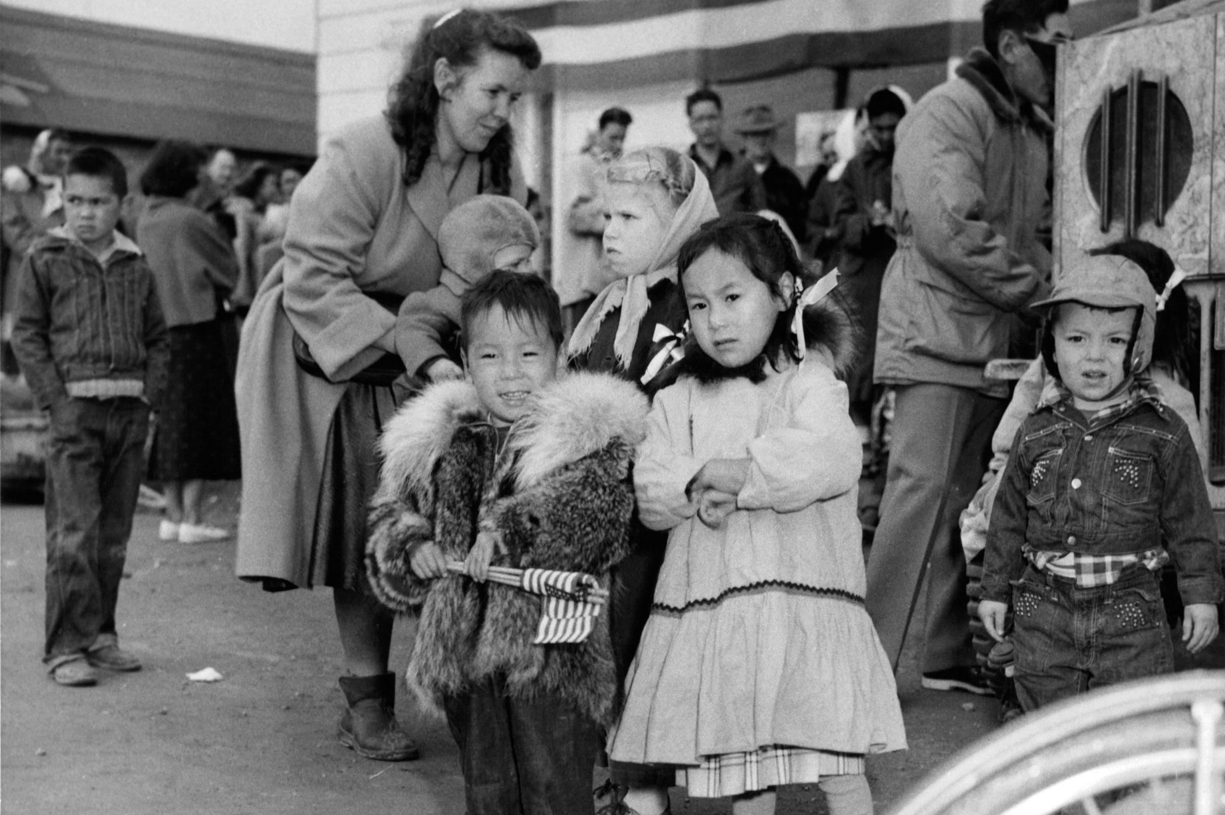 Eskimo Children In Nome, Alaska