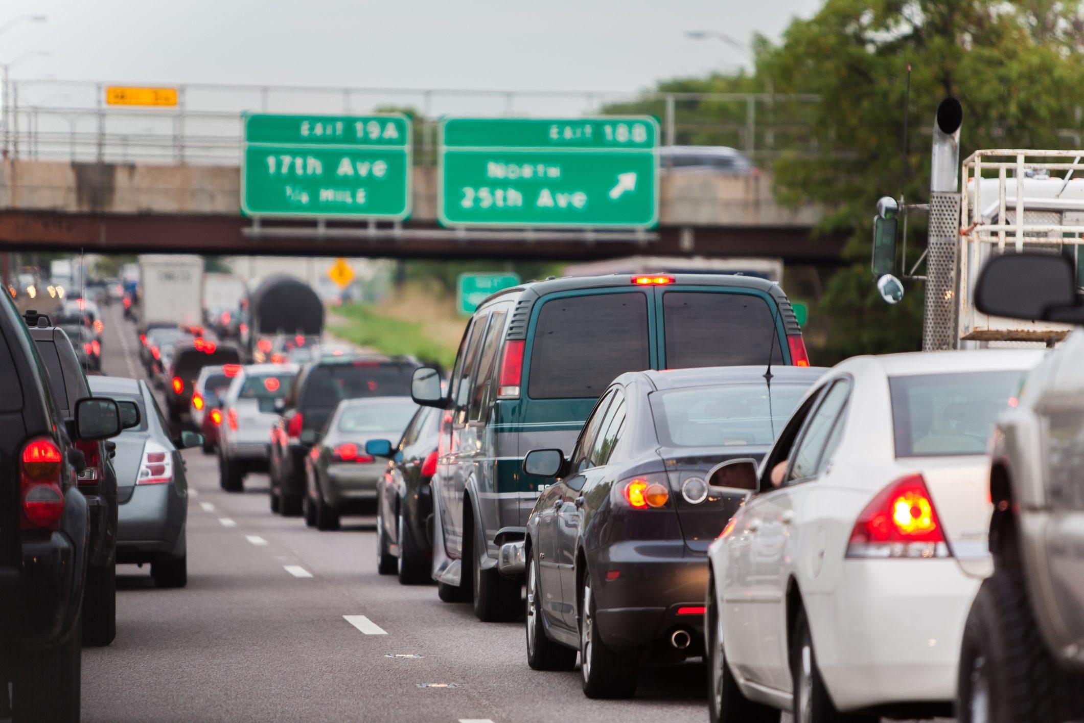 stopped inbound chicago traffic jam