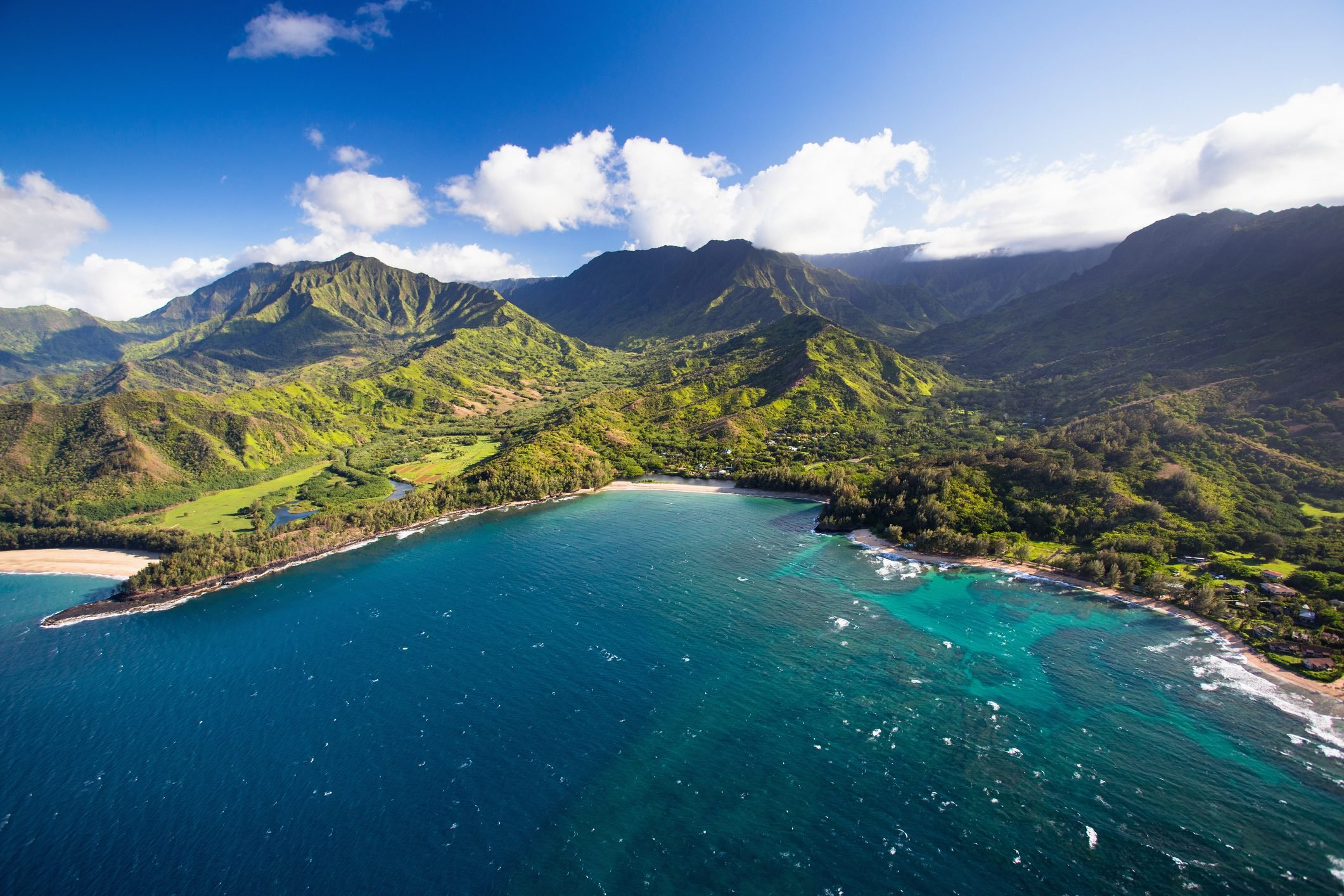 Scenic aerial views of Kauai from above