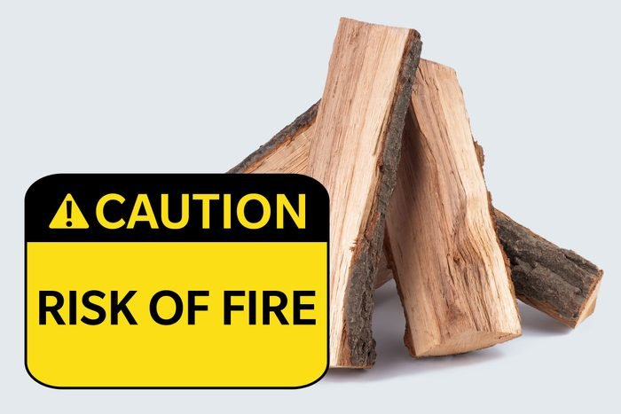 wood. caution: risk of fire