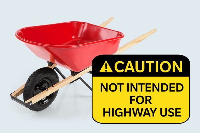 wheelbarrow. Caution: not intended for highway use