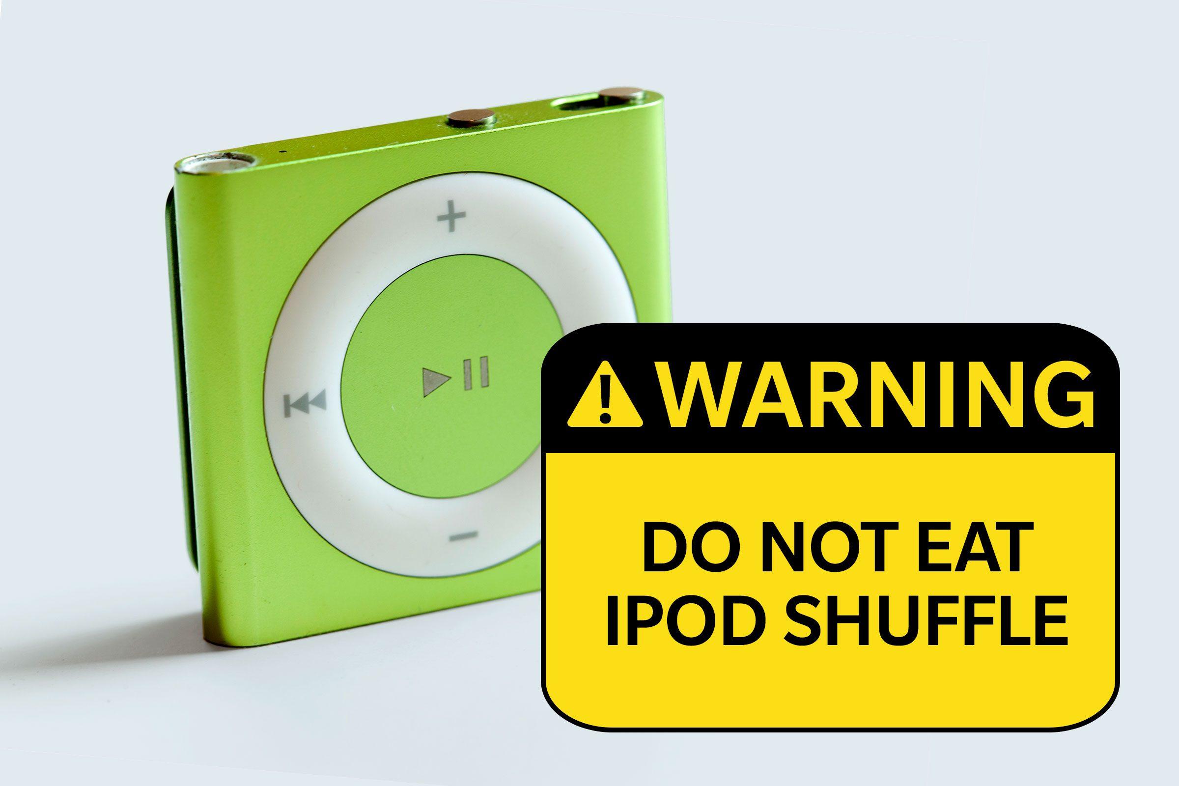 ipod shuffle. warning: do not eat ipod shuffle