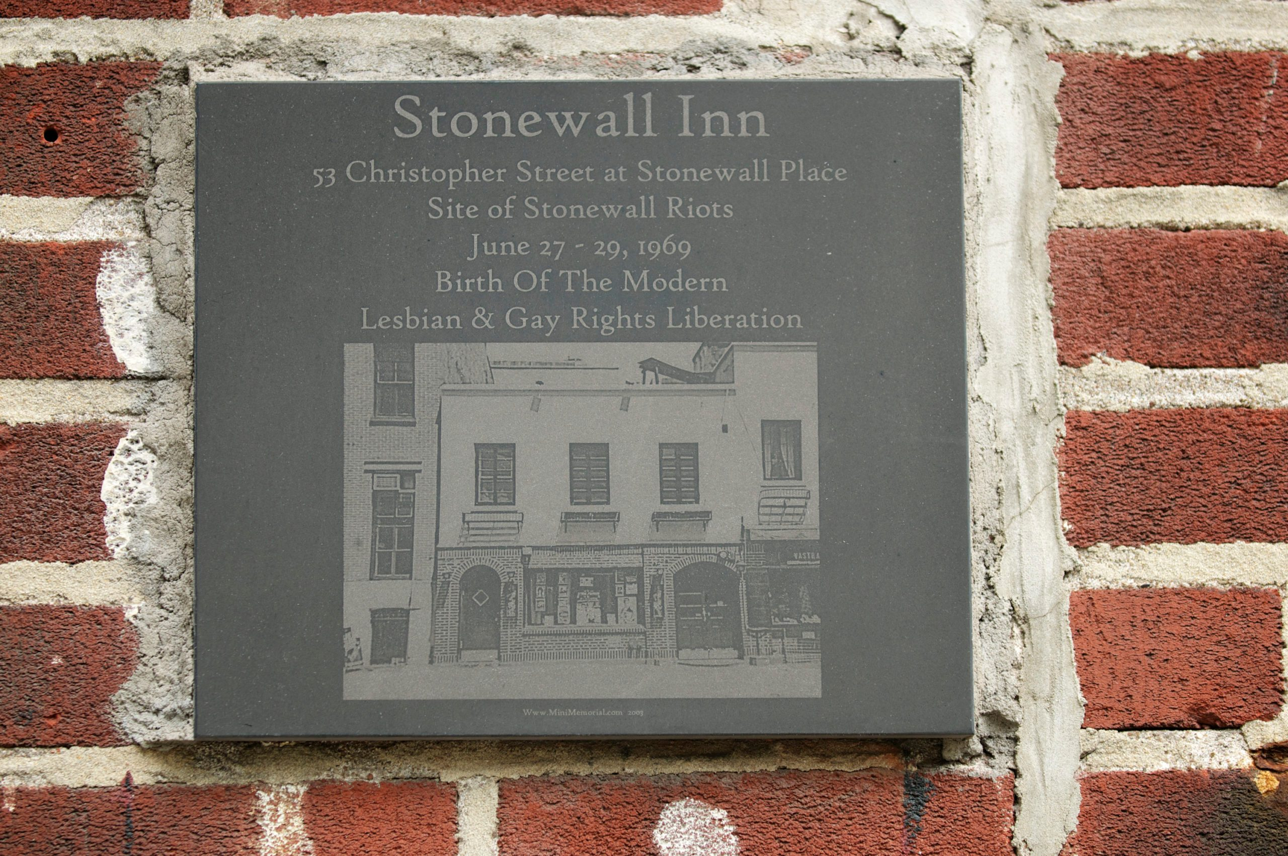 Stonewall Inn Memorial Plaque Close Up
