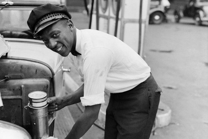 Jesse Owens Working As Gas Attendant