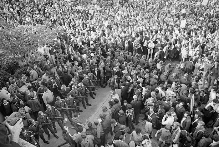 Aerial View of Troops and Demonstrators