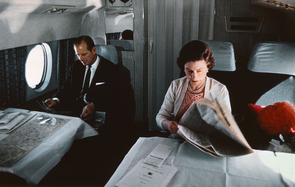 Prince Philip and Queen Elizabeth Aboard Airplane