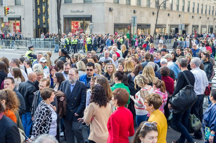 Crowds of shoppers on Fifth Avenue in Midtown Manhattan in New York on Sunday, December 13, 2015. The streets of New York are filled with shoppers and tourists with less than two weeks to Christmas. (�� Richard B. Levine) (Photo by Richard Levine/Corbis via Getty Images)