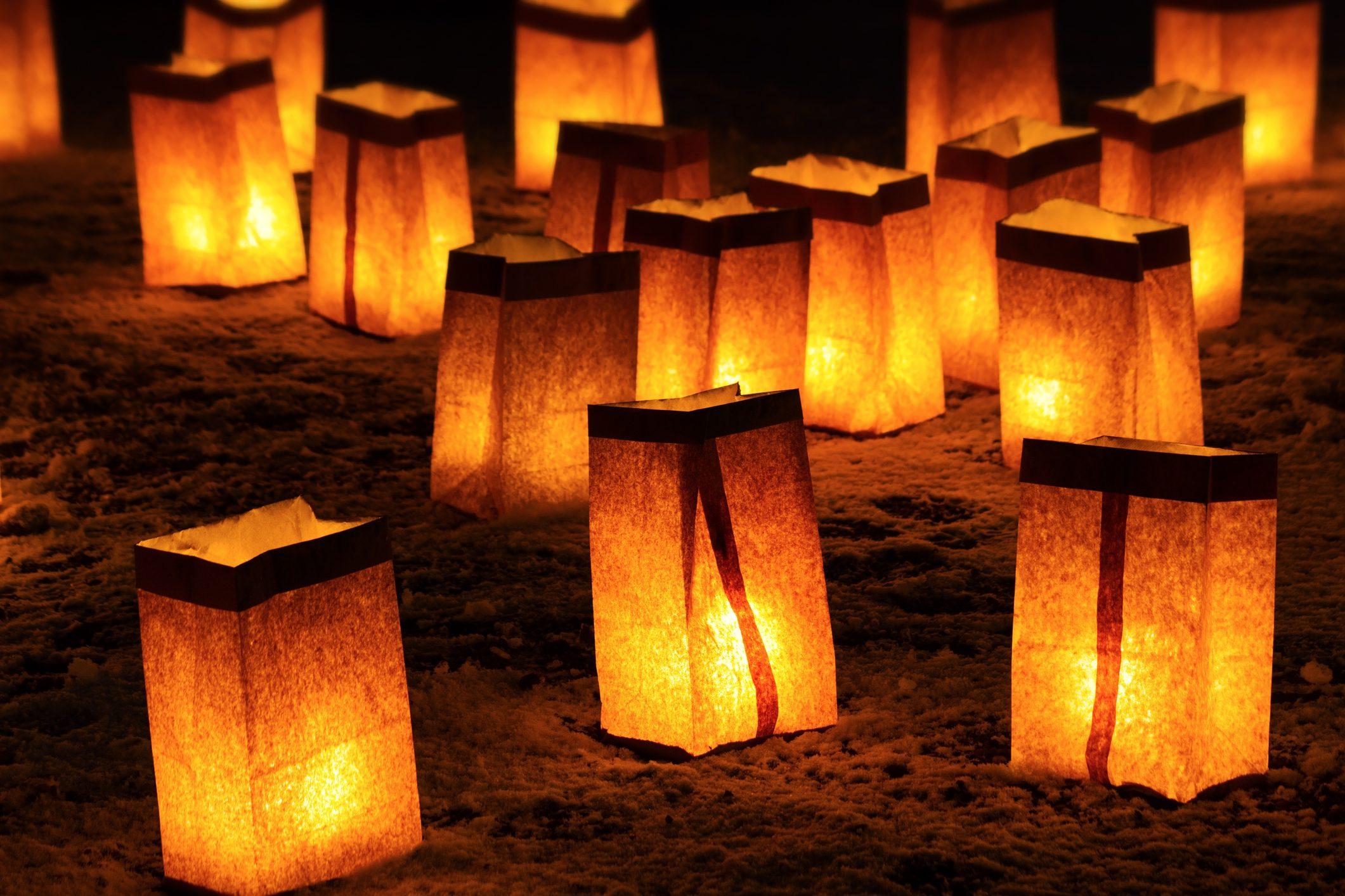 Christmas luminarias in Santa Fe