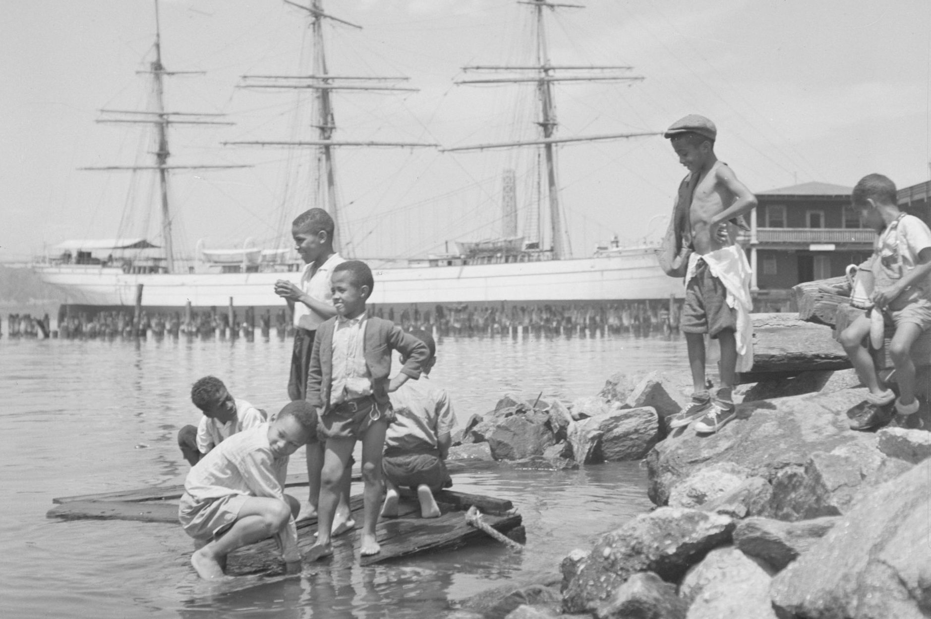 Children Playing Along the Hudson River
