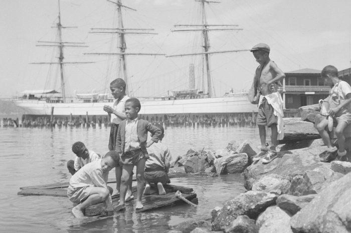 Children Playing Along the Hudson River
