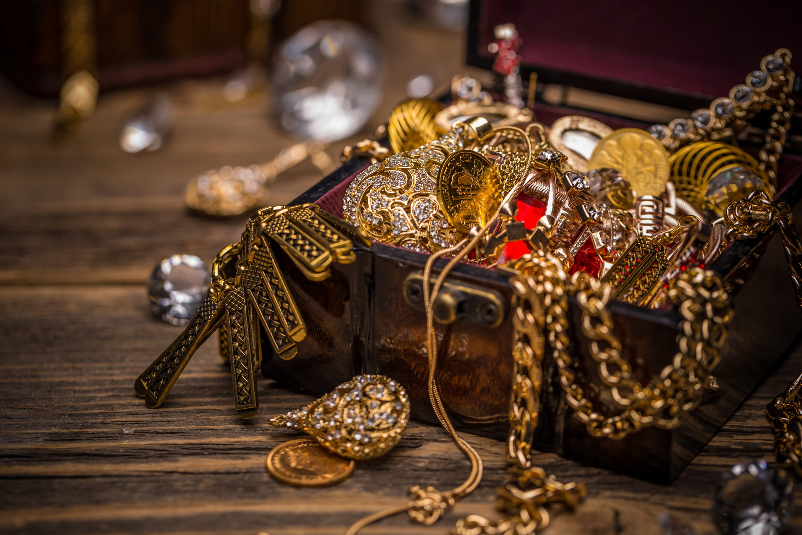 Wooden jewellery box still life