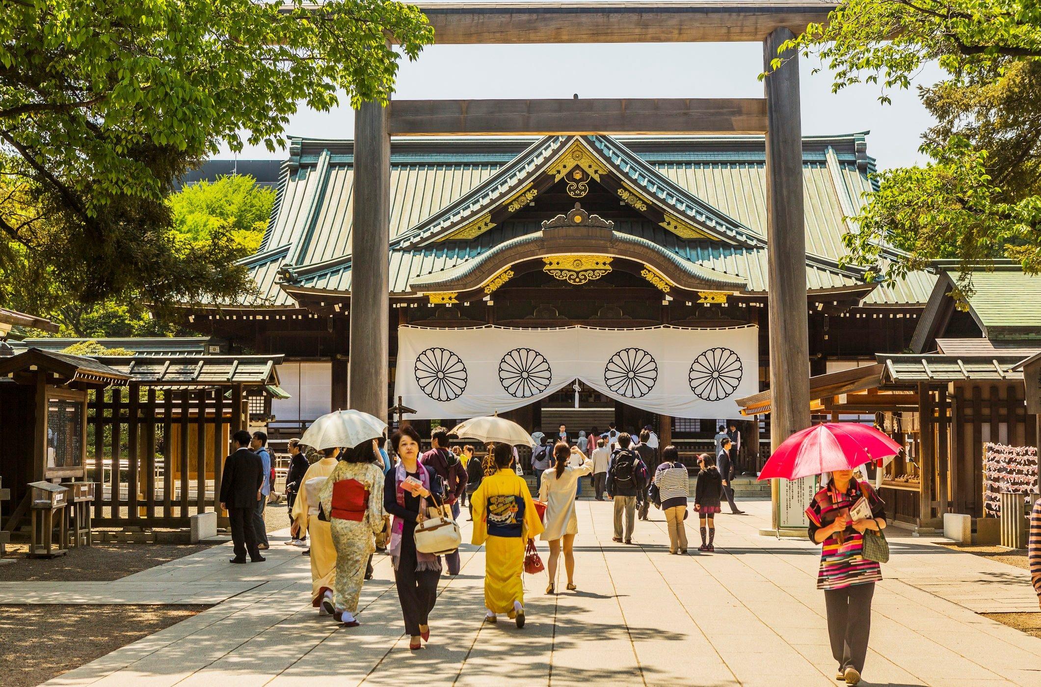 Yasukuni Shrine, the torii gate and the shrine