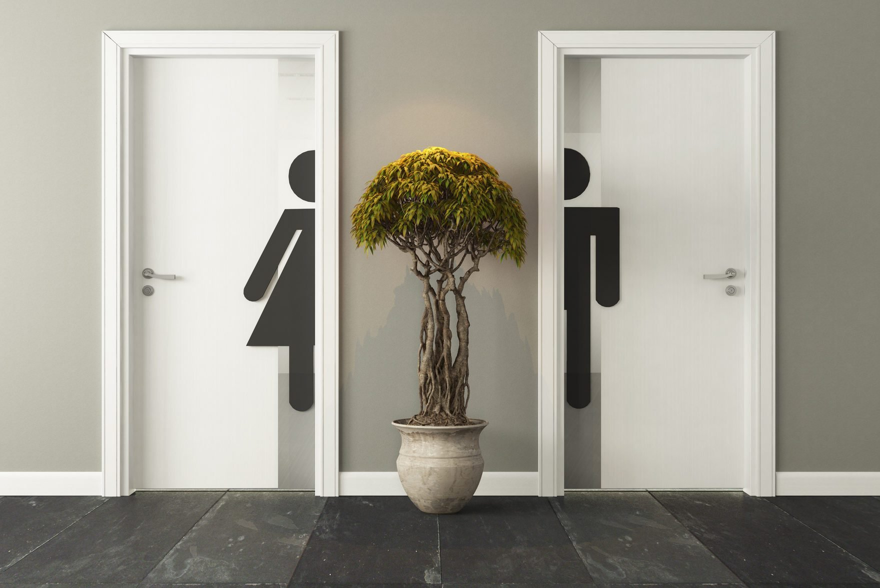 white restroom doors for male and female