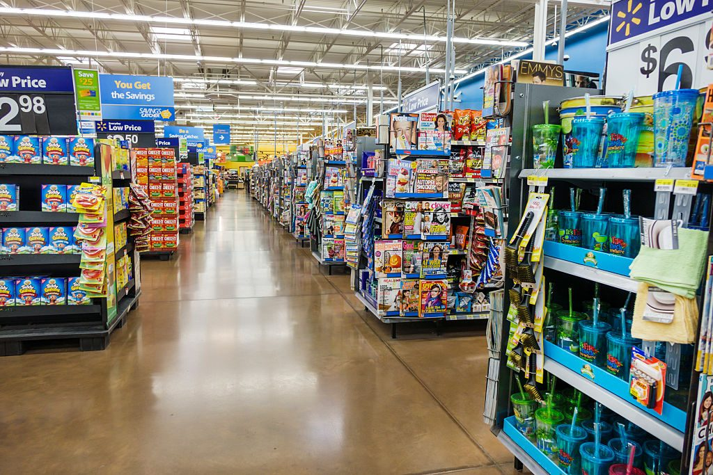 Walmart department store aisle.