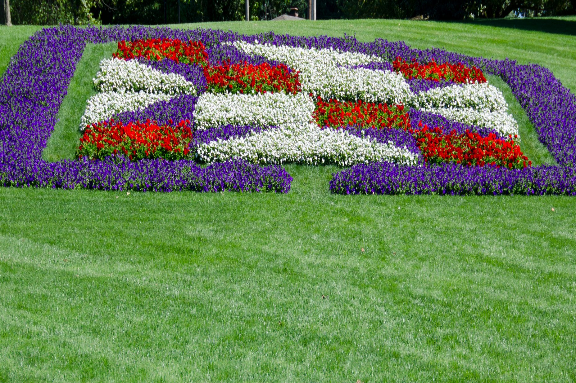 Flowerbed Designed Like a Quilt