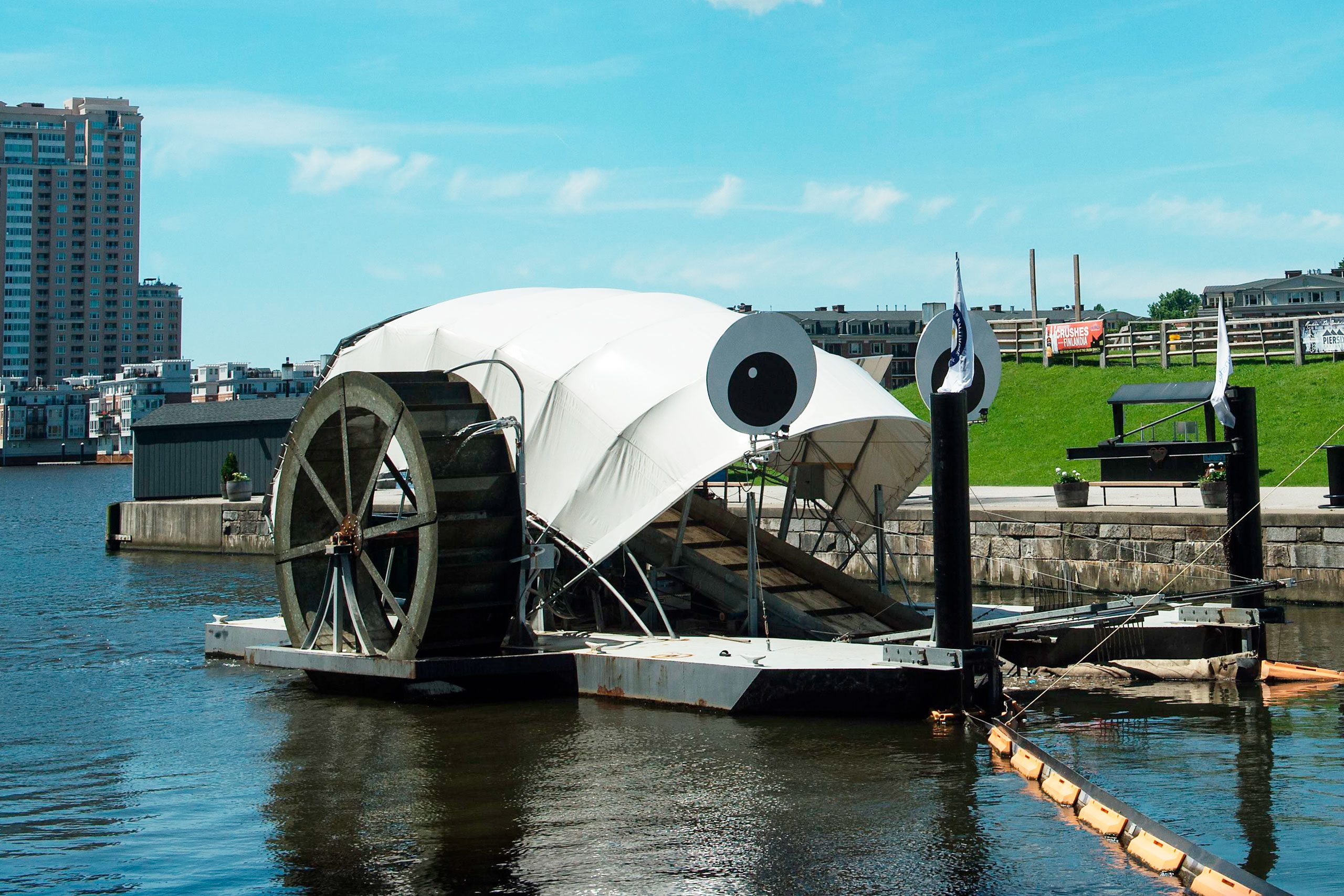 View of the Inner Harbor Water Wheel, also known as Mr. Trash Wheel, in Baltimore, Maryland