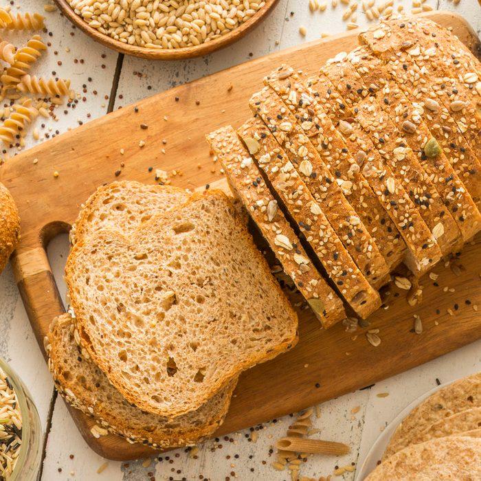 Brown bread on cutting board
