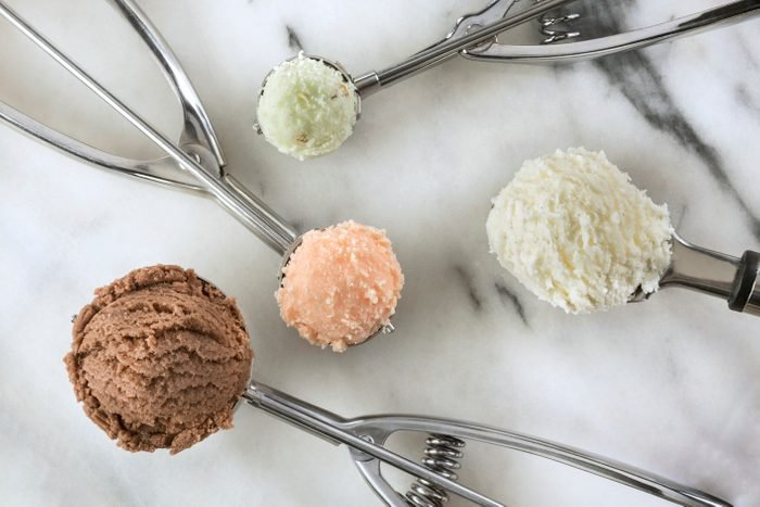 Top view of ice cream scoops