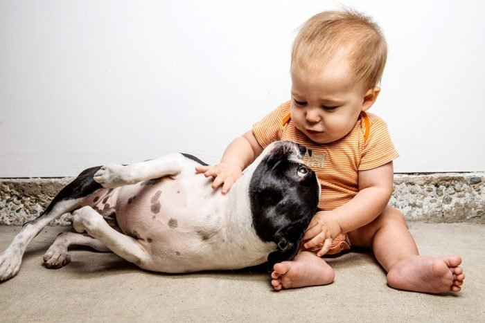 Baby sitting on floor with dog lying next to him