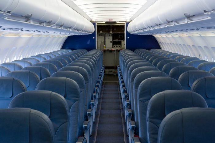 The empty cabin of an airplane