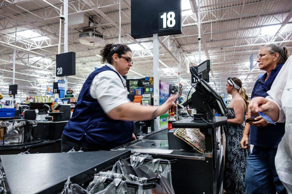 A cashier in Walmart.