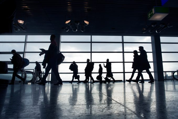 People rushing to departures lounges