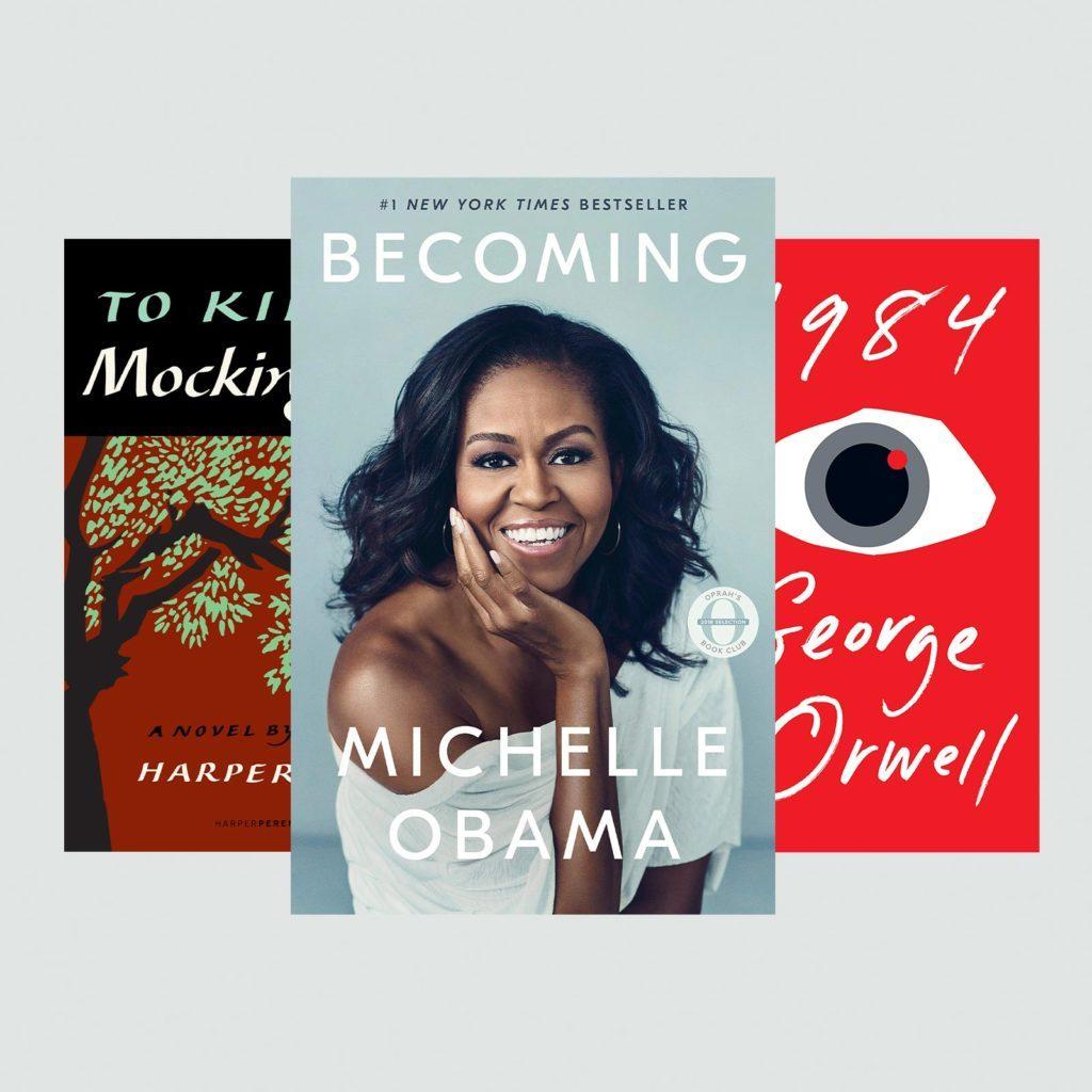 Three popular books: To Kill a Mockingbird, 1984, and Becoming